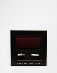 French Connection Pocket Square And Cufflink Set Red