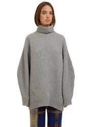 Acne Studios Isa Oversized Ribbed Knit Roll Neck Sweater Grey