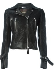 Roberto Cavalli Appliqua Lace Biker Jacket Black