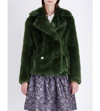Michael Michael Kors Double Breasted Faux Fur Jacket Moss Green