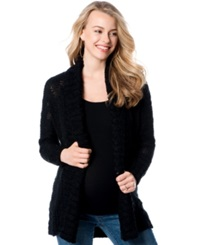 Motherhood Maternity Open Front Shawl Collar Cardigan Black Marl