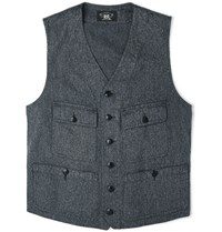 Rrl Parks Striped Cotton Waistcoat Navy