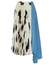 Toga Graphic Print Pleated Cady And Satin Maxi Skirt Blue White