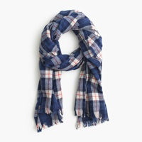 J.Crew Tartan Plaid Scarf Blue Red