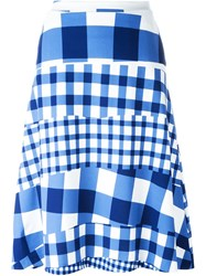 Etre Cecile Gingham Checked Skirt Blue