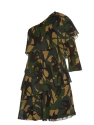 Sonia Rykiel Swallow Camouflage Print One Shoulder Dress Green Multi