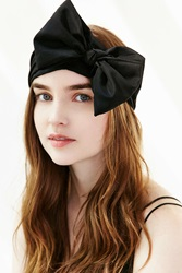 Urban Outfitters Silk Bow Headwrap Black