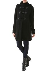 Momo Maternity Maisy Pleated Wool Blend Duffle Toggle Coat Black