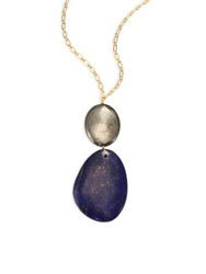 Nest Lapis And Pyrite Pendant Necklace Gold Multi