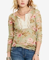 Denim And Supply Ralph Lauren Floral Print Crochet Henley Woodstock Floral Laurel