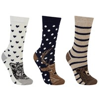 John Lewis Wild Animal Print Ankle Socks Pack Of 3 Navy Multi