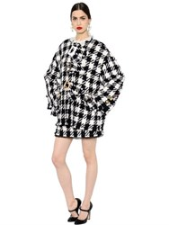 Dolce And Gabbana Buckled Macro Check Wool Blend Coat