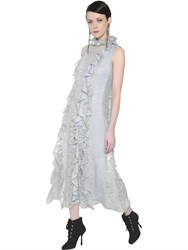 Lanvin Ruffled Lace And Silk Georgette Dress