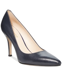 Nine West Flax Pointed Toe Pumps Women's Shoes Navy Leather