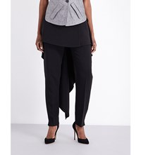 Antonio Berardi Skirt Overlay Stretch Crepe Trousers Black