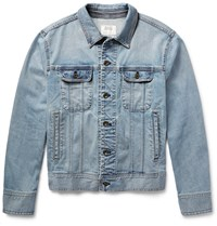 Rag And Bone Standard Issue Washed Stretch Denim Jacket Blue