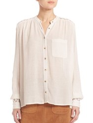 Free People The Best Eyelet Inset Button Down Shirt Ivory