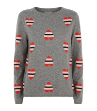 Chinti And Parker Stripe Heart Cashmere Sweater Female Light Grey