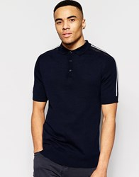 Brave Soul Knitted Airtex Shoulder Polo Shirt Navy