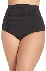 Becca Etc Plus Size Women's Etc. Color Code High Waist Bikini Bottoms Black