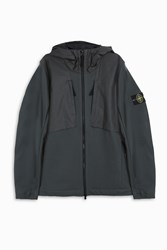 Stone Island Terry Soft Shell Hooded Jacket Charcoa