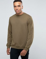 New Look Crew Neck Sweatshirt In Khaki Khaki Green