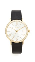Dkny Willoughby Leather Strap Watch Black Gold