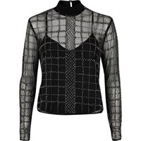 River Island Womens Silver Grid Embellished Mesh Top