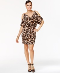 Thalia Sodi Animal Print Cold Shoulder Bodycon Dress Only At Macy's Leopard