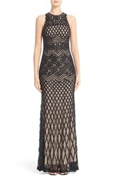 Rachel Gilbert Women's Beaded High Neck Mermaid Gown