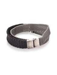 Sterling Silver And Braided Leather Wrap Bracelet