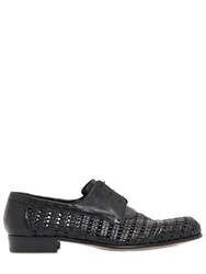 A.Testoni Woven Leather Derby Lace Up Shoes