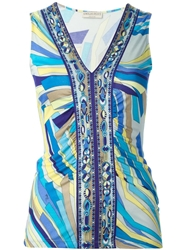 Emilio Pucci Sleeveless V Neck Top Blue