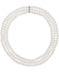Belle De Mer Cultured Freshwater Pearl Three Layer Necklace 7 8Mm