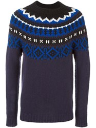 Moncler Fair Isle Knit Jumper Blue