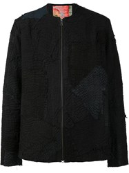 By Walid Collarless Zipped Jacket Black