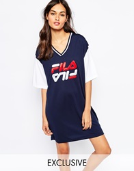 Fila Oversized Mesh Basketball Jersey Tee Dress With Front Logo Blue