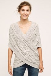 Anthropologie Cabled Crossover Wrap Light Grey