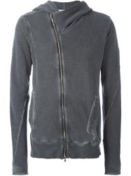 Lost And Found Rooms Off Centre Zipped Hoodie Grey