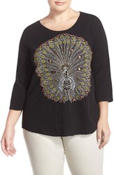 Plus Size Women's Lucky Brand Embroidered Peacock Tee