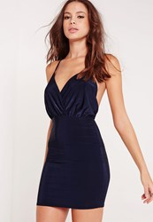 Missguided Slinky Strappy Plunge Bodycon Dress Navy Blue