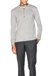 Thom Browne Long Sleeve Henley In Gray