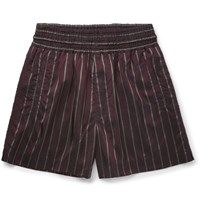 Dries Van Noten Palmor Striped Satin Shorts Burgundy