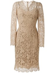 Dolce And Gabbana Floral Lace Midi Dress Nude And Neutrals