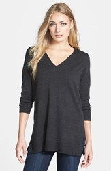 Women's Eileen Fisher Deep V Neck Slim Merino Tunic Charcoal