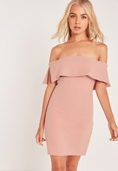 Missguided Bandeau Overlay Bodycon Dress Pink Mauve