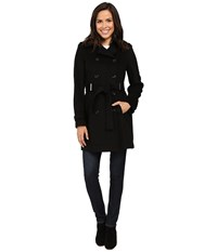 Calvin Klein Double Breasted Belted Wool Coat Black Women's Coat