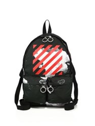 Off White Paint Splashed Backpack Black Red
