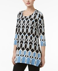 Jm Collection Geo Print Chiffon Hem Tunic Only At Macy's Hightail Geo Blue