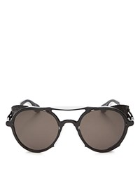 Givenchy 7038 Mirrored Round Sunglasses 50Mm Black White Solid Gray Lens